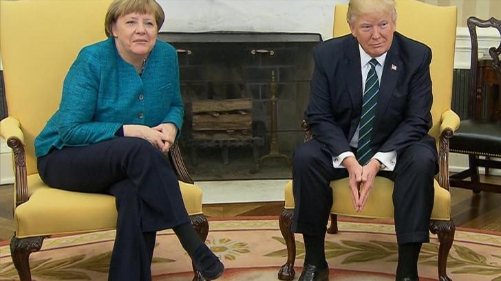 Donbald Trump o primește pe Angela Merkel la Casa Albă