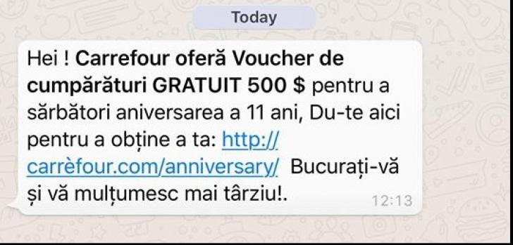 Dacă primeşte acest mesaj de la supermarketul LIDL pe Facebook sau WhatsApp NU îl deschide!
