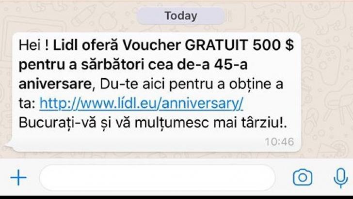 Voucher LIDL sau Carrefour de 500$. O nouă metodă de înşelăciune pe Facebook şi Whatsapp
