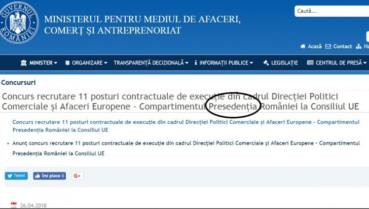 """Ministerul pentru IMM-uri comite o gafă: """"Preşedenţia"""" României la Consiliul UE"""