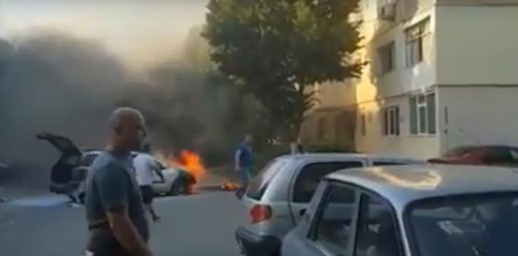S-a crezut mecanic auto, şi-a incendiat maşina şi a ajuns la spital (VIDEO)