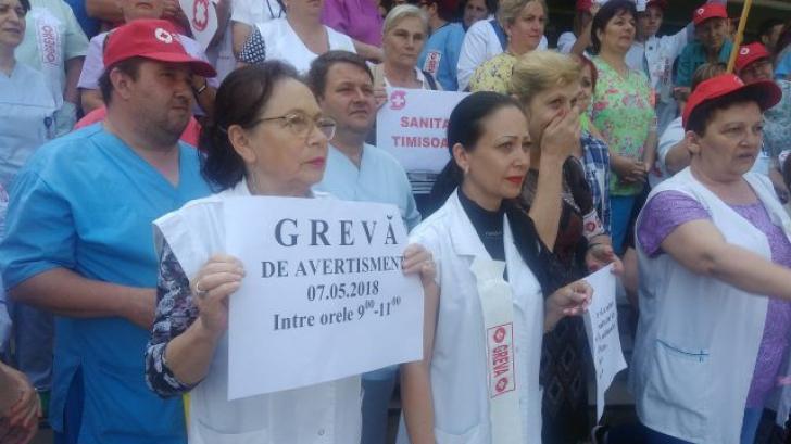 1.000 de angajați din sănătate, în stradă la Timișoara