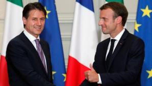 Premierul italianGiuseppe Conte s-a întâlnit cu Emmanuel Macron