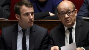 Jean-Yves Le Drian, alături de președintele Emmanuel Macron