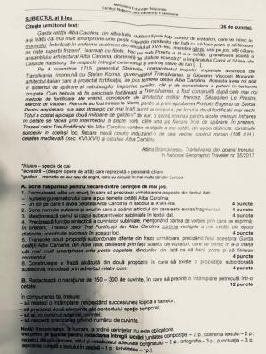 Subiecte Romana 2018 barem Evaluare Nationala