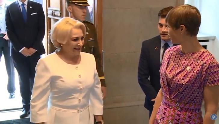 Viorica Dăncilă s-a întâlnit cu președintele Estoniei. Ce reacție a avut premierul României