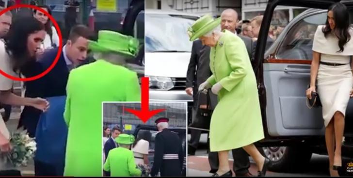 Meghan Markle se urcă înaintea Reginei în mașină