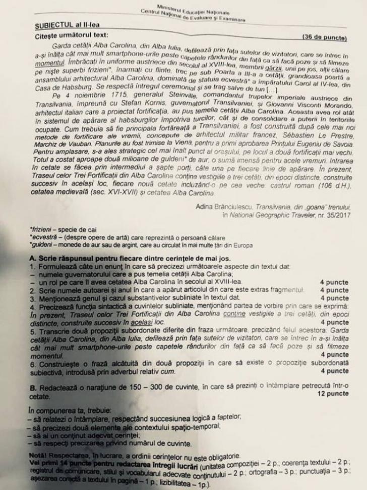 Barem Română 2018 Evaluare Naţională. Rezolvările corecte