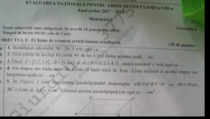 Subiecte Evaluare Nationala 2018 matematica