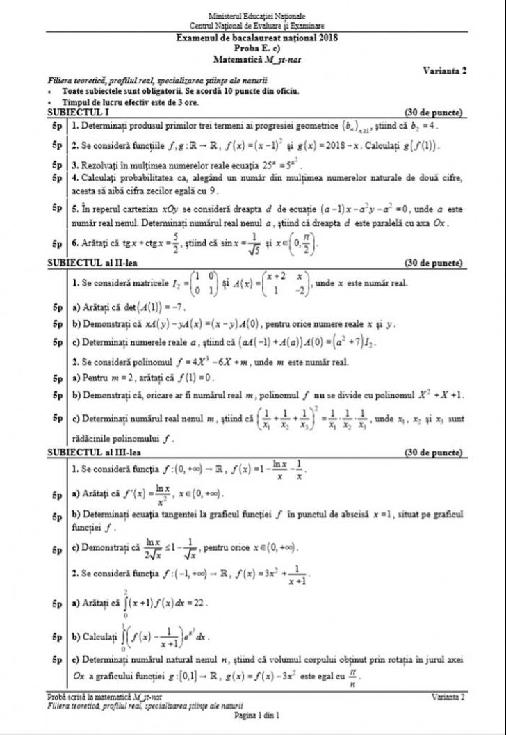 Subiecte şi barem BAC 2018 Matematica si Istorie. Calculează-ţi singur nota!