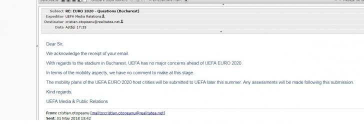 Euro 2020 la București. Anunț de ultimă oră făcut de UEFA pentru realitatea.net