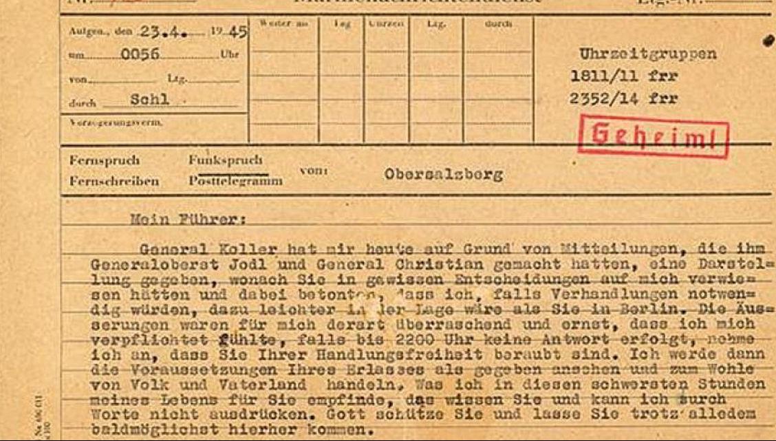 Telegrama care l-a împins pe Hitler la sinucidere