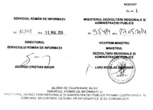 Dovada că Dragnea a semnat ca ministru al Dezvoltării, în 2014, un protocol secret cu SRI / Foto: Facebook.com