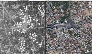 1944 a fost un an cumplit pentru bucuresteni, care au indurat bombardamente si in aprilie (anglo-americanii), si in august (germanii). In imagine, doua fotografii comparative: Piata Victoriei in 1944 si in prezent. Foto: muzeuldefotografie.ro
