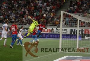 Golul marcat de Gnohere in prelungirile partidei FCSB - Hajduk 2-1. Foto: Cristian Otopeanu