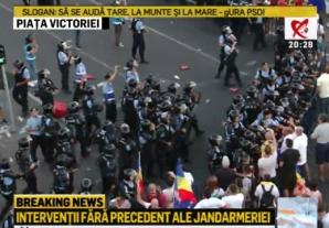 INCIDENTE la Mitingul Diasporei. Zeci de răniți, după gaze lacrimogene. S-a adus un TUN CU APĂ