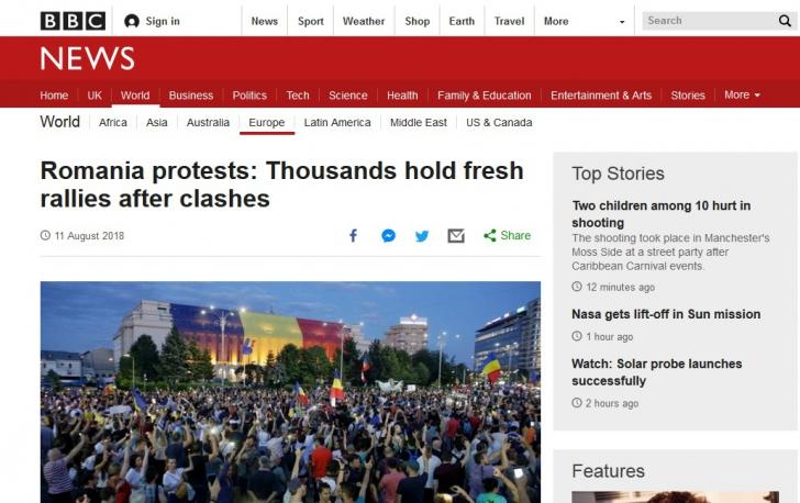 Protestele în presa străină