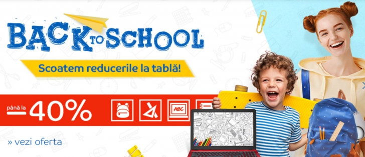 eMAG - Promotia Back to School aduce reduceri de pana la 40% pentru rechizite, carti si manuale