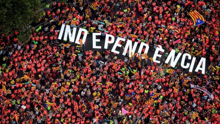 Un milion de oameni în stradă la Barcelona pentru susținerea independenței Cataloniei