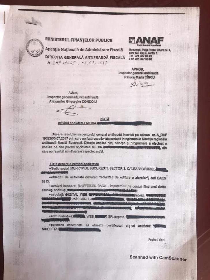 Cum îi atacă ANAF pe jurnaliștii incomozi la comanda lui Dragnea. Documente din interior