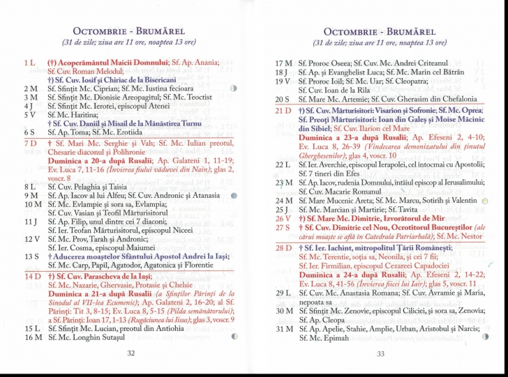 Calendar ortodox octombrie 2018
