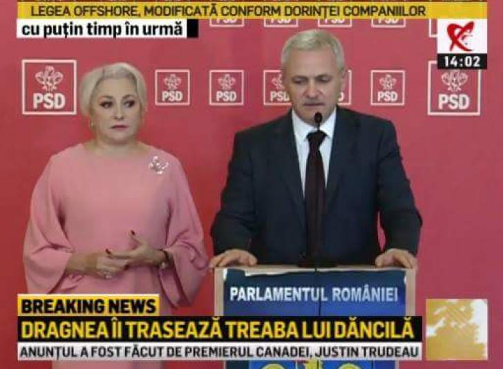 """Dragnea o confiscă pe Dăncilă din fața presei, după un moment stânjenitor: """"Haideți!"""""""
