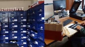 Foto stânga: una dintre cele două camere care găzduiesc arhiva de filme. Foto dreapta: locul unde se scanează negativele