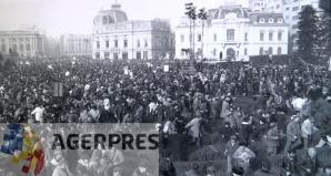 Momentul in care se sparge mitingul, in timp ce vorbea Ceausescu (21 decembrie 1989). Reproducere foto Agerpres