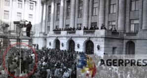 Motivul pentru care camerele video TVR au tremurat este vizibil in aceasta imagine (21 decembrie 1989). Reproducere foto Agerpres