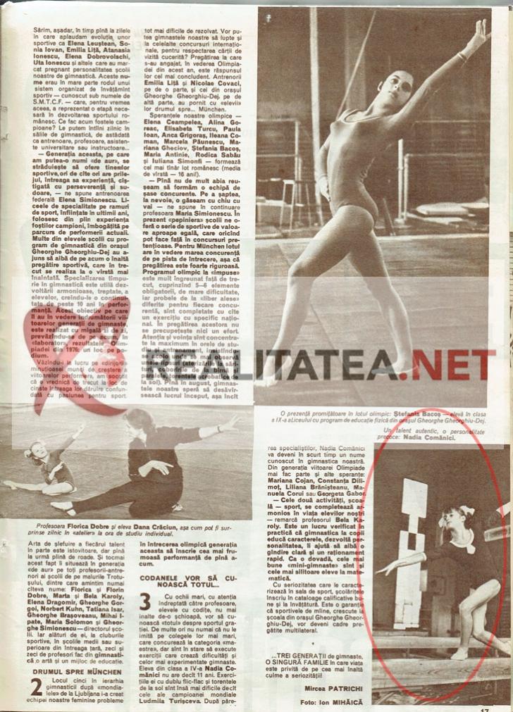 """Prima fotografie cu Nadia Comaneci, aparuta in revista Sport din martie 1972. Numele i-a fost scris gresit: """"Comanici"""". Arhiva: Cristian Otopeanu"""