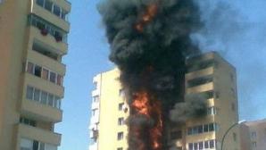 Incendiu violent într-un apartament din Capitală