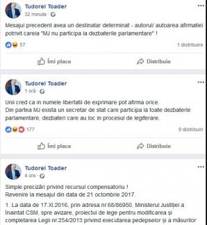 Tudorel Toader scrie pe Facebook