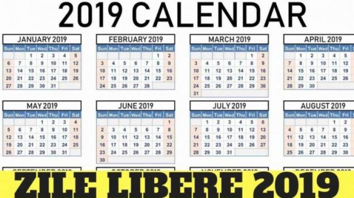 Zile libere 2019. Ghinion mare pentru români