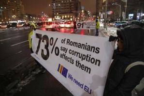 Protest anti-PSD la sosirea comisarilor UE