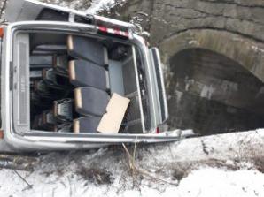 Clipe de groază în Bistrița-Năsăud. Microbuz cu pasageri, căzut de pe pod: 4 victime