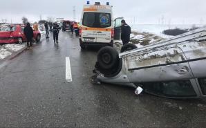 Accident rutier în Olt. Trei răniți. Imagini cumplite