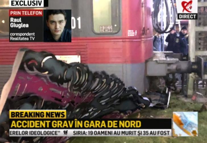 Accident grav, în Gara de Nord. Un tren a lovit zona de protecție a peronului / Foto: captura