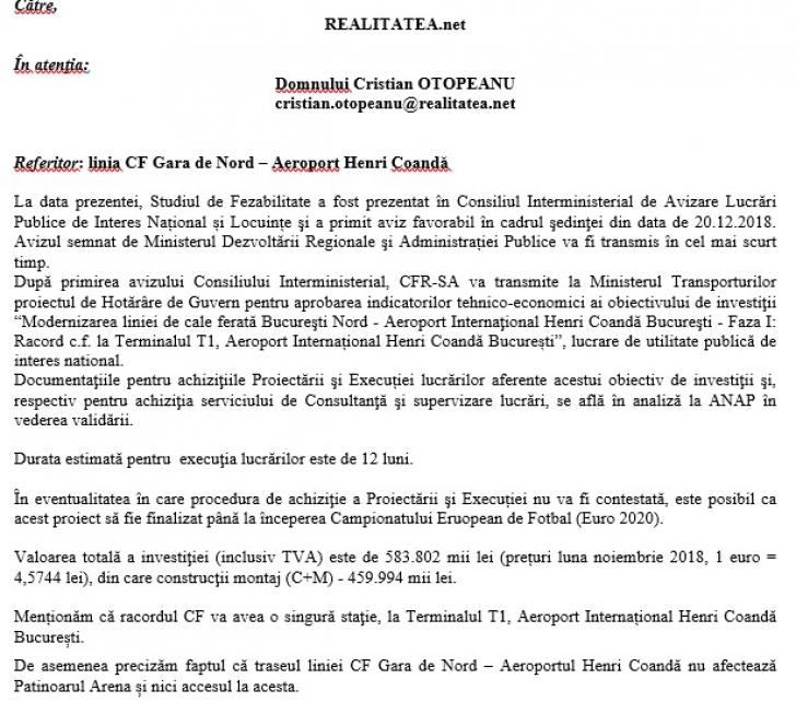 Anunț oficial despre trenul care va lega Aeroportul Otopeni de Gara de Nord. Durată + costuri