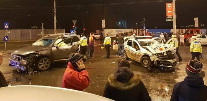 Accident înfiorător, în Capitală: 3 polițiști și un jandarm, spulberați de o mașină
