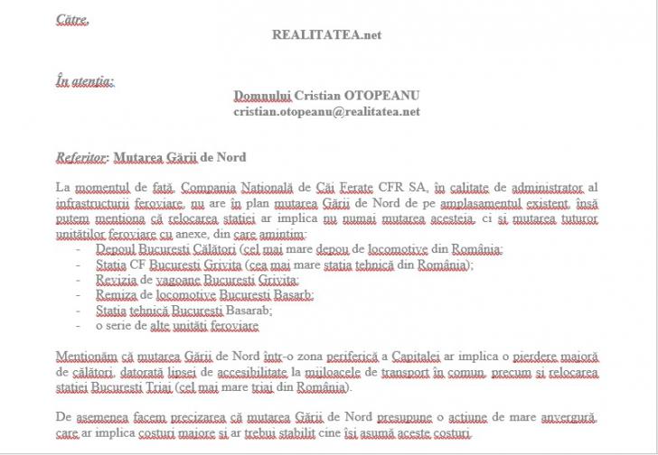 Mutare Gara de Nord din București. Reacția oficială a CFR. Exclusiv realitatea.net