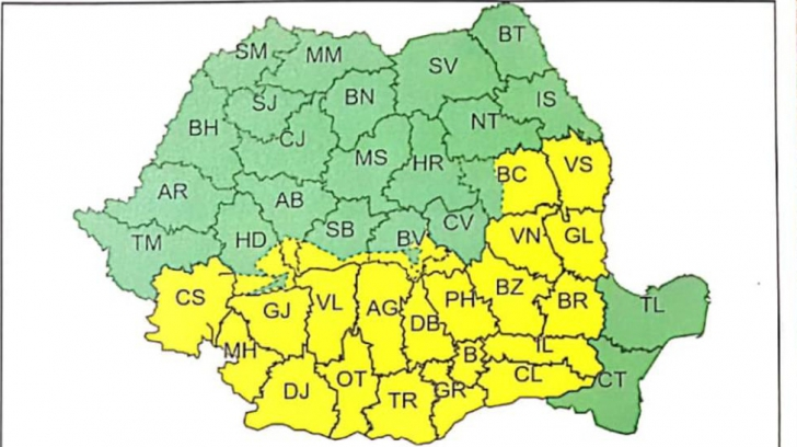 URGIA lovește România! Un nou COD GALBEN de polei, vânt și viscol. HARTA