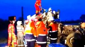 Accident grav cu două autotrenuri la Drăgănești Vlașca