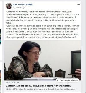 Adriana Saftoiu, replica dupa declaratiile date de Ecaterina Andronescu pentru realitatea.net