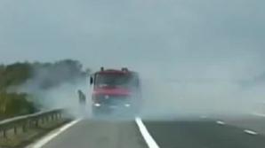 Incendiu de vegetație pe A1
