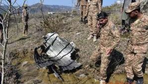Rămășițele avionului doborât de Pakistan