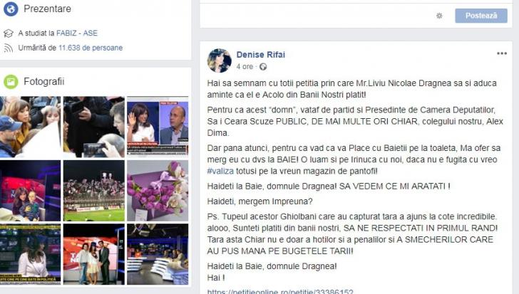 Denise Rifai îl provoacă public pe Liviu Dragnea