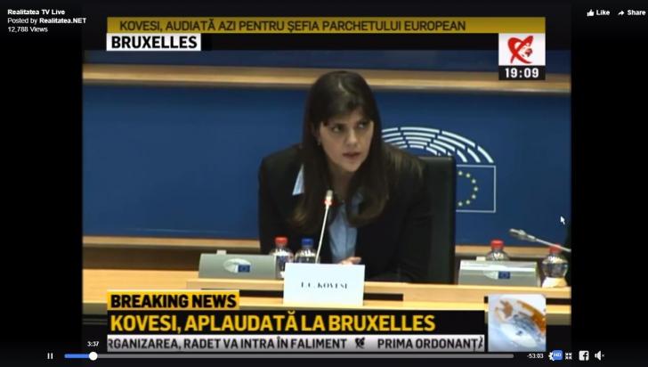 Kovesi a fost audiată la Bruxelles pentru funcţia de procuror-şef UE. Aplauze la scenă deschisă