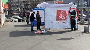 Un angajat al ADP montează un cort al PSD