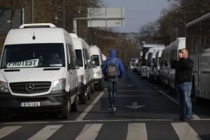 Protest al transportatorilor în București