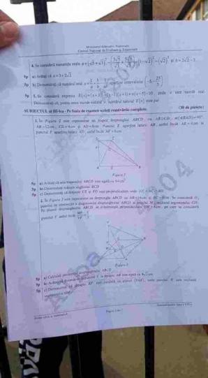 Subiecte simulare 2019 matematica clasa a 8-a
